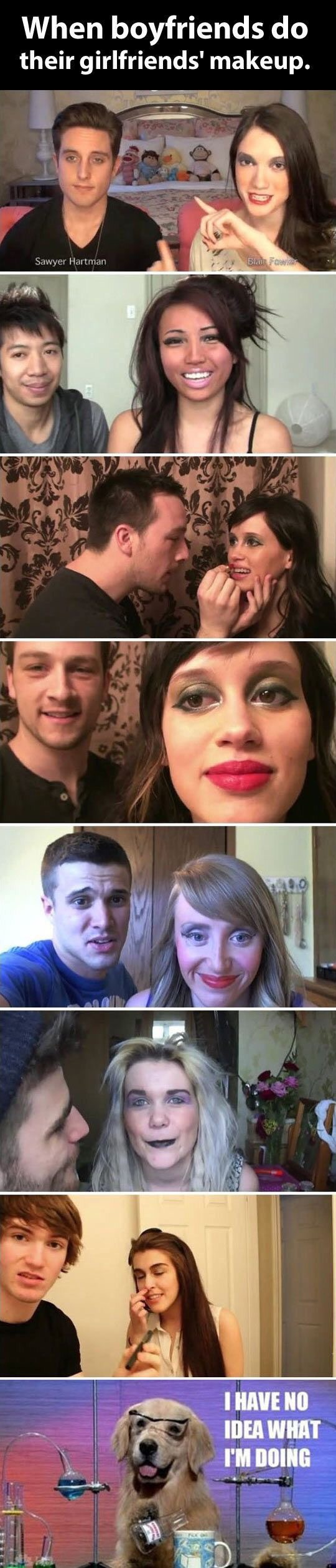 When your boyfriend do your makeup.. #lol