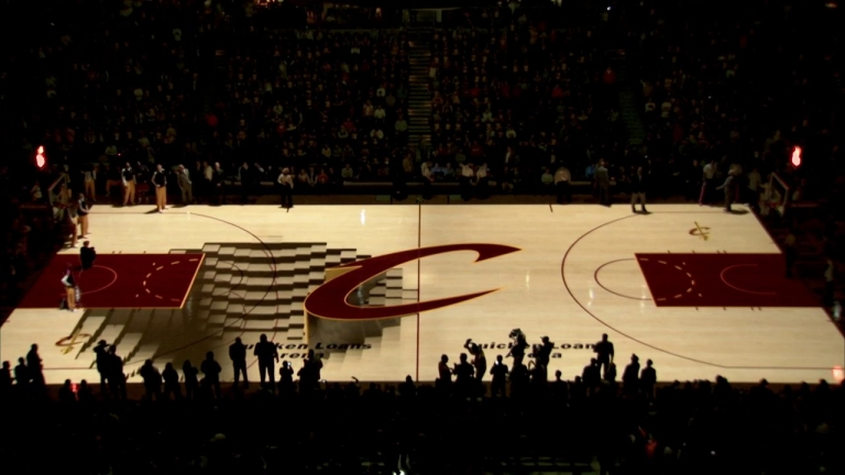 Cleveland #Cavaliers PreGame Court Projection is Pretty #Cool