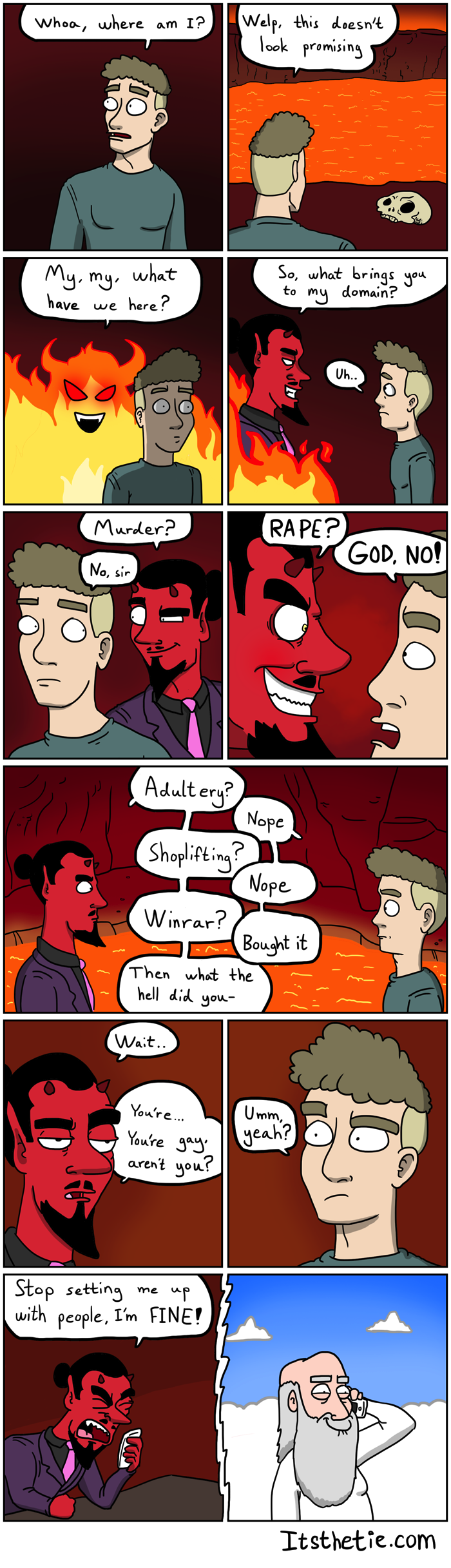 A gay goes to hell...
