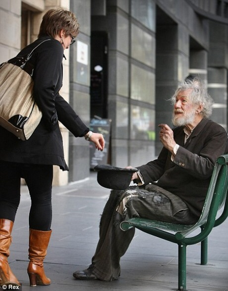 Sir Ian McKellen mistaken for a homeless man while taking a break outside from rehearsals