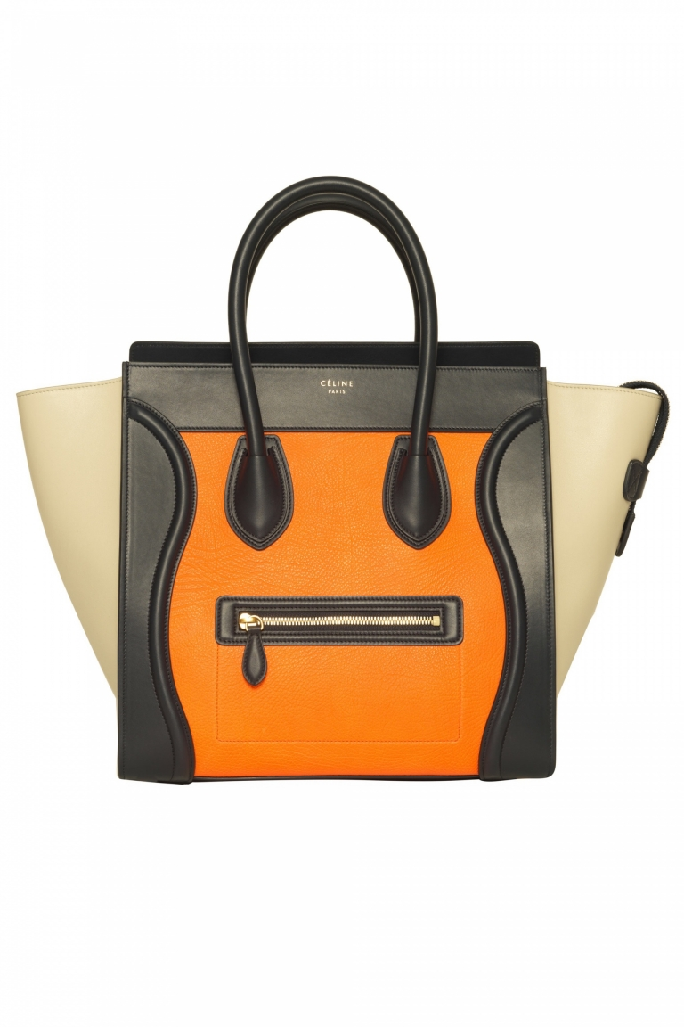 Céline Mini Luggage Tote in Mulitcolor Elephant Calfskin Bright Orange, $3,450 😢