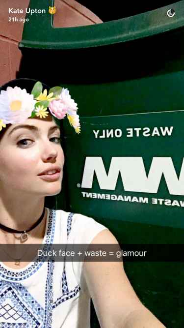 👻 Kate Upton Snapchat Update 2016: She is excitedly waiting for her fiance by the garbage area 😆