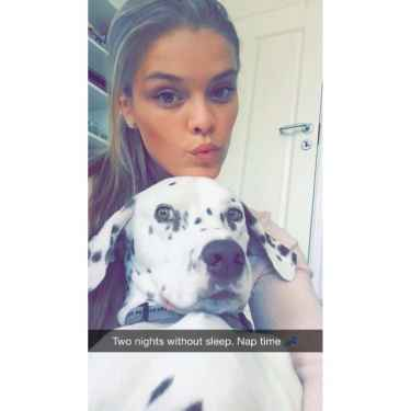 Nina Agdal posts her cute dog on Snapchat!