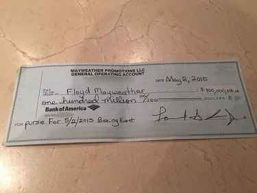 Floyd Mayweather shows off his $100 million check on Instagram