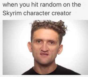 When you hit random on the Skyrim character creator