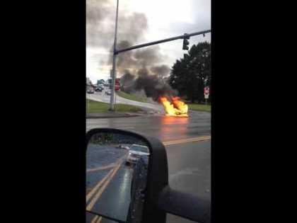 #Tesla Model S on fire after it hits object on HOV lane near Kent, Washington