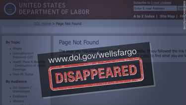 Labor Department's Wells Fargo complaint site has vanished and Elizabeth Warren wants to know why