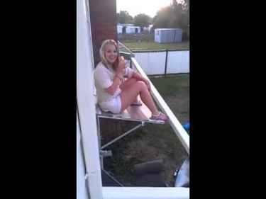 Drunk girl thinks she's not gonna fall from the roof... watch what happens next...