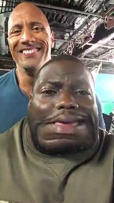 """Dwayne """"The Rock"""" Johnson snapchat with Kevin Hart"""