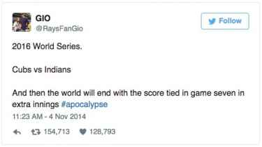 A 2014 Tweet predicted Cubs vs Indians World Series tied going to extra innings