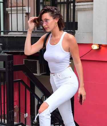 Bella Hadid Goes #Braless in a Sexy White Tank Top and White Jeans
