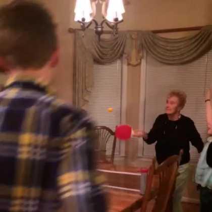 Watch grandma dives while playing ping pong #LOL