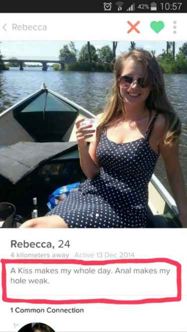 """Rebecca: """"A kiss makes my whole day. Anal makes my hole weak."""" #LOL"""