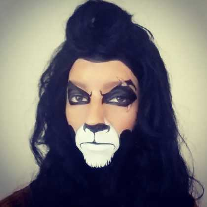"""Halloween Makeup: """"Scar"""" From The Lion King... All You Need Is A Black Marker And Liquid Paper"""