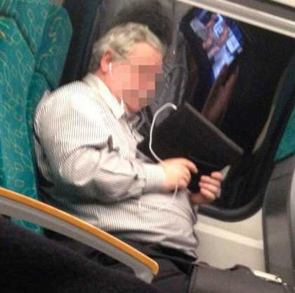 Old Man Tries To Watch Some P0rn On His Tablet While Commuting And Failed...