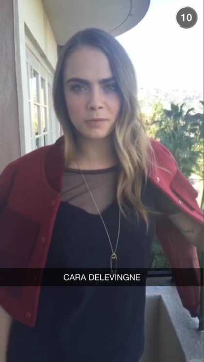 Cara Delevingne Helps @Burberry on Snapchat
