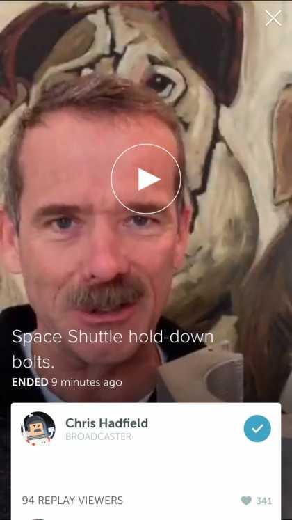 #Astronaut: Chris Hadfield live on Periscope @cmdr_hadfield