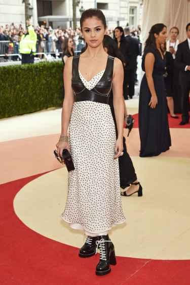 Selena Gomez at Met Gala 2016 Red Carpet Wearing a Louis Vuitton