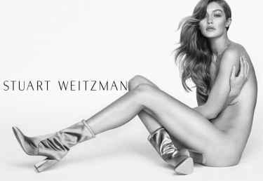 Gigi Hadid Models Stuart Weitzman Clinger Boot For Spring 2017 Campaign