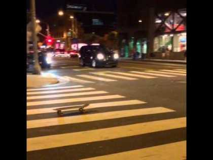 Drunk guy tries to skate home from the bar #LOL