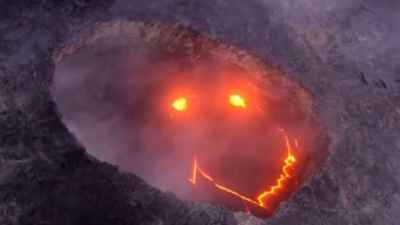 Hawaii volcano forms smiley face during eruption 😀