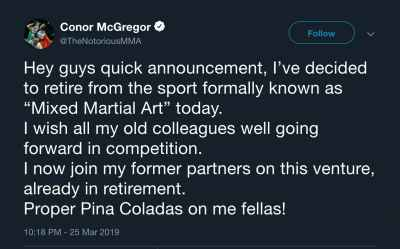 Conor McGregor announced his retirement from #MMA on Twitter 😮 #ConorMcGregor