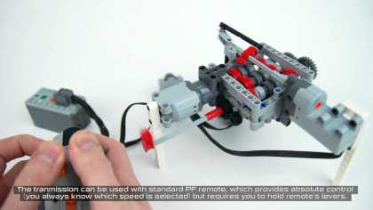 6-Speed RC Servo Transmission Built Entirely From LEGO