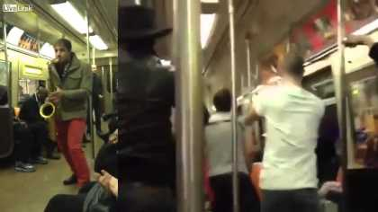 Two Total Strangers Have #Saxophone Battle On #NYC Subway Train