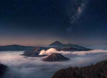 Starry Night in Mount Bromo - East Java, Indonesia