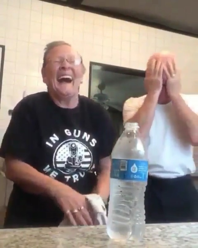 Grandma pranks grandpa with penny inside the bottled water trick... she almost died laughing 😂