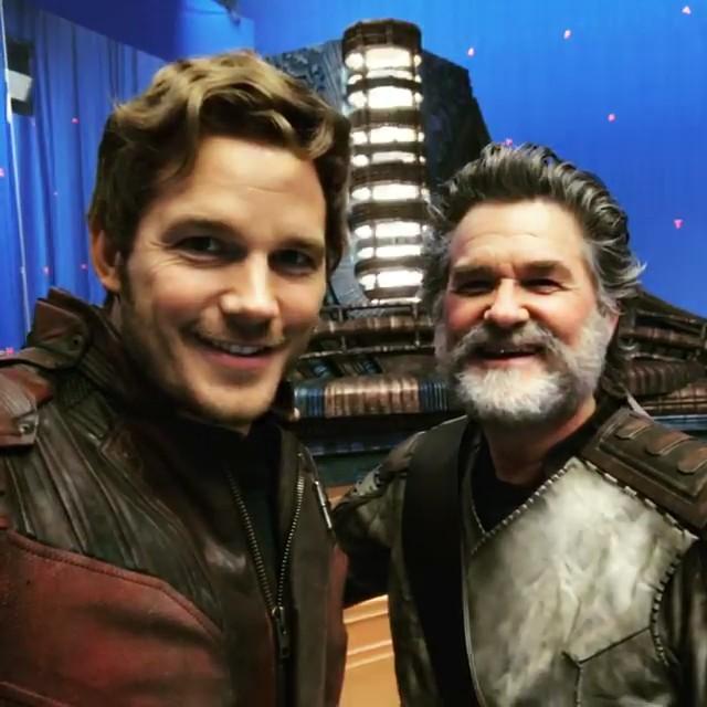 Chris Pratt and Kurt Russell on the set of 'Guardians of the Galaxy Vol. 2' 👾👾👾