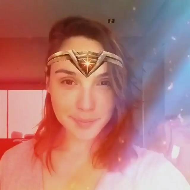 Gal Gadot with her very own #WonderWoman Tiara via Facebook camera mask
