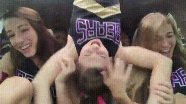 #Cheerleaders dance routine inside the car fall... #ThisWillMakeYouLaugh