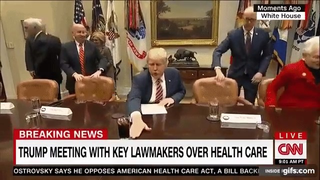 President Trump wants to push things off the table... literally
