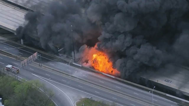 Raw Video: Portion of Atlanta Highway I-85 Collapsed and on Fire!