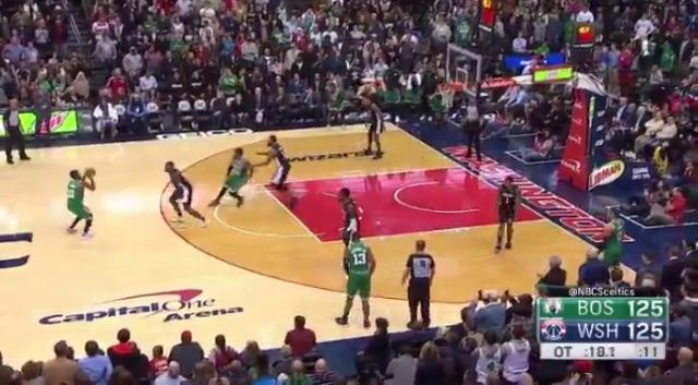 #KyrieIrving vs #JohnWall, Kyrie's back to back 3s wins OT game for the #Celtics