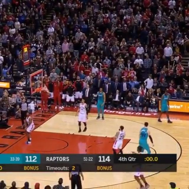 #Hornets' Jeremy Lamb half court buzzer beater to beat the #Raptors